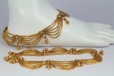 New Gold plated belly dance fashion jewellery polki Pair Anklet Payal women