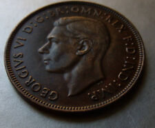 Very Fine Brown Handsome 1939  Australia One Penny, George VI 33MM Round Holder.