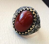 925 Sterling Silver Handmade Certified AAA+Quality Red Coral Handmade Mens Ring