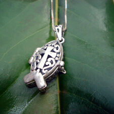 Necklace - Christian fish locket necklace - sterling silver stamped 925