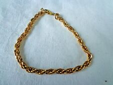 VINTAGE TWISTED ROPE CHAIN GOLD TONE BRACELET 8""