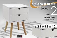 LIVING COMODINO MODERNO H45*29*29 DESIGN LIVING BIANCO LEGNO 2 CASSETTI GIG