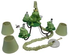 Frog Prince Decor Chandelier Lamp Light Nursery Children's Room Green White Blue