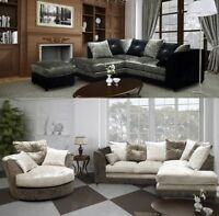 Crystal Corner Sofa + Footstool Crushed Velvet Black Silver OR Brown Mink Oyster