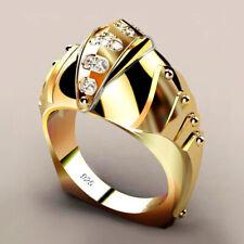 White Sapphire Wedding Ring Size 7 Fashion 18k Yellow Gold Plated Men/Women