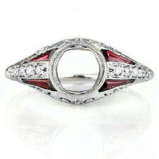 VINTAGE DIAMOND RUBY 6mm ART DECO SEMI-MOUNT ENGAGEMENT RING SETTING ROUND 14K