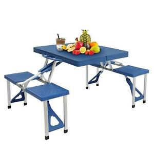 Portable Folding Picnic Table Camping Party Outdoor 4 Seats Set Aluminum & ABS