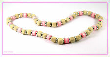 PRETTY NATURAL PALE WOOD & PINK BEAD NECKLACE WITH SILVER SPACERS.