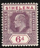 St Helena 1908 dull/deep-purple 6d multi-crown CA perf 14 chalk paper mint SG67