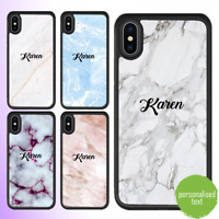 For iPhone 12 11 Pro Max SE Case Marble Personalised Text Initial Custom Name 1