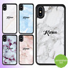 iPhone 8 7 6 Plus X 5s SE 5c Case Marble Personalised Text Initial Custom Name