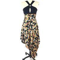 BGN First Black Floral Dress Womens Size 10  Silk Asymmetrical Handkerchief Hem