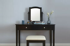 Chic Contemporary Dressing Table Set with Stool and Mirror Grey, Black or White
