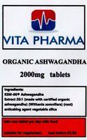 ORGANIC Ashwagandha 120 tablets 2000mg Stress Fatigue Anxiety Relief