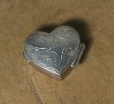 Vintage 925 Sterling Silver Engraved Floral Heart Pill Box