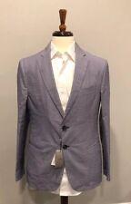 $1100 New Armani Collezioni Mens Blue Thin Cotton Blazer Jacket Size 38 US 48 IT