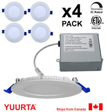 """YUURTA (4-pack) 4"""" 10W Slim Dimmable LED Recessed Ceiling Downlight (Pot Light)"""
