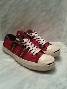 Converse Jack Purcell LTT Turf Ox Red plaid size 10 107033 shoes sneakers