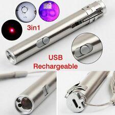 3in1 Tube UV UltraViolet Blacklight Rechargeable USB Keychain Flashlight Laser