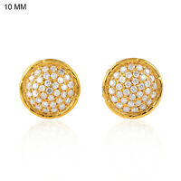 Pave Diamond Disc Stud Earrings 18k Yellow Gold Handmade Jewelry 10X10mm