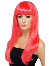 Bright Pink Long Straight Wig With Fringe Fancy Dress Costume Accessory Ladies
