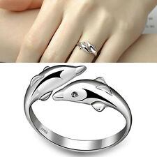 New Silver-Plated Double Dolphin Rings Charm Opening Adjustable Finger Ring  OZ