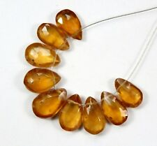 9pcs Natural Hessonite Faceted Pear Beads 27.40cts