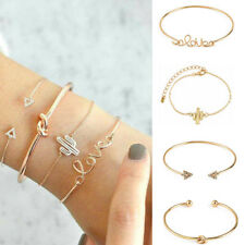 4pcs/set Ladies Gold Triangle Knot Love Cactus Opening Bangle Chain Bracelet New