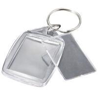 5x Clear Acrylic Blank Keyrings Insert Passport Photo Keychain Keyfob Q2K5 W5W6