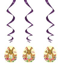 Easter Egg Hunting Party 3x Bunny Rabbit Egg Hanging Decorations Swirl Swirling