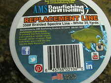 Ams Bowfishing Replacement Line 350# Braided Spectra White 35 Yards L21-35