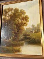 Öl Gemälde Bild Holzrahmen Goldstreifen 30 x 37 cm Landschaft Romantik signiert