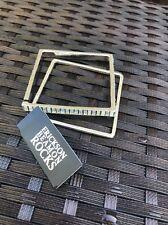 NEW Erickson Beamon Rocks Hematite Set of 2 Crystal Pave Square Bangle Bracelet