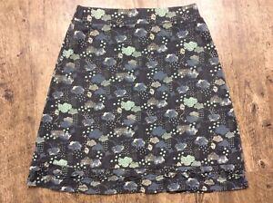 Mantaray Grey Cloud & Kite Print Jersey A Line Skirt Womens Uk 12 Vgc