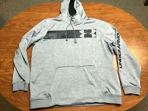 MENS USED UNDER ARMOUR LIGHT GRAY ATHLETIC PULLOVER HOODIE SWEATSHIRT SIZE XL