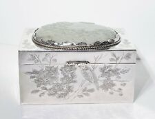 Antique Chinese Export Sterling Silver Box w Carved White Jade Plaque
