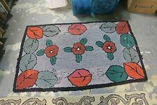 """Primitive Antique American Hand Made Hooked Rug 2'10"""" x 4'6"""" on burlap"""