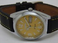 VINTAGE CITIZEN 8200 AUTOMATIC MENS STEEL DAY/DATE YELLOW DIAL WATCH RUN ORDER;,