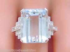 ART DECO 25.96 CT AQUAMARINE .60ctw DIAMOND PLATINUM BIG STATEMENT COCKTAIL RING