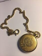 NEW GOLD TONE ELGIN POCKET WATCH AND CHAIN