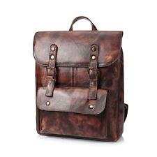 Neutral Real Genuine vintage Leather Bag Rucksack Travel Backpack Dark Brown