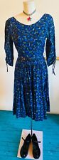 Vintage 1950s Blue Atomic/Abstract Print Dress By Fashion Frock Size Small