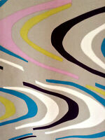 Vintage mid century abstract hippie psychedelic fabric curtains drapes panels!