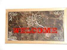 Handmade Art Sandblast wall Hanging WELCOME SIGN Brown Marble  Gift