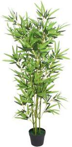 vidaXL Garden Artificial Bamboo Plant with Pot, 120cm Green