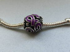 One PURPLE RIBBON European Charm Enamel Cancer & Other Awareness Spacer Bead