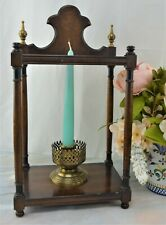 Vintage Knob Creek Dark Brass Wood Hanging Wall Candle Holder. Wall Sconce Decor