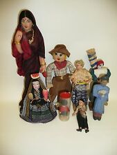 """Group Of 8 Dolls 2""""-9"""" Tall, 4.5"""" Hand Carved Oriental Lady, 9"""" Indian Lady"""