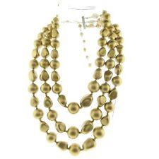 "Vintage Hong Kong Faux Pearl Necklace Triple Strand Gold Color 2X15-17"""