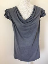 Ladies Grey French Connection T Shirt With Cowl Neck & Frilled Sleeved - Size S